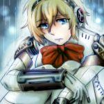 1girl aegis android atlus blonde_hair blue_eyes bow crying lowres megami_tensei persona persona_3 rain ribbon sad solo tagme tears wet