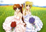 absurdres bardiche black_hair blonde_hair breasts bride brown_hair cleavage dress elbow_gloves fate_testarossa flower gloves headdress highres huge_filesize less long_hair lyrical_nanoha mahou_shoujo_lyrical_nanoha mahou_shoujo_lyrical_nanoha_strikers multiple_girls nyantype official_art okuda_yasuhiro ponytail purple_eyes raising_heart red_eyes takamachi_nanoha very_long_hair violet_eyes wedding_dress