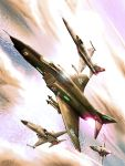 ace_combat_5 afterburner airplane cloud clouds condensation_trail contrail dutch_angle f-4_phantom_ii f-5 fighter_jet flying highres jet missile ocean pilot signature sky sun zephyr164