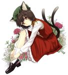 animal_ears brown_hair cat_ears cat_tail chen dekappara_futoriusu earrings floral_background flower hands_on_feet jewelry loafers medio multiple_tails red_eyes shoes short_hair sitting solo tail touhou