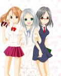 3girls anjou_naruko ano_hi_mita_hana_no_namae_wo_bokutachi_wa_mada_shiranai arms_interlocked black_hair brown_eyes brown_hair dress glasses green_eyes highres honma_meiko mer0k0 multiple_girls necktie open_mouth school_uniform silver_hair skirt tsurumi_chiriko twintails