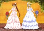 absurdres bardiche blonde_hair breasts bridge brown_hair cleavage dress elbow_gloves fate_testarossa flower gloves headdress highres huge_filesize long_hair lyrical_nanoha mahou_shoujo_lyrical_nanoha mahou_shoujo_lyrical_nanoha_strikers multiple_girls nyantype official_art okuda_yasuhiro ponytail purple_eyes raising_heart red_eyes takamachi_nanoha very_long_hair violet_eyes wedding_dress