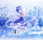 blue_dress blue_eyes blue_hair bow cirno danmaku dress floating forest hair_bow mary_janes nature outstretched_hand pico_(picollector79) pointing ribbon shoes short_hair smile snow snowflakes socks touhou white_legwear wings winter