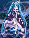 aqua_eyes aqua_hair checkered checkered_floor dress frilled_legwear frills gloves hatsune_miku headset highres lolita_fashion off_shoulder thigh-highs thighhighs twintails ushas vocaloid white_legwear