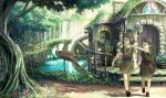 bag barrel brown_eyes brown_hair butterfly child elf fantasy flower harupy highres landscape nature original pointing pointy_ears scenery short_hair sign tree tunic water water_wheel waterfall