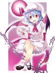 ascot bat_wings blue_hair blush chain child cup demon_girl dress fang flat_chest frills full_moon hat highres ichi_makoto legs mary_janes moon red_eyes remilia_scarlet shoes short_hair sitting smile socks solo spill tea teacup touhou wings wrist_cuffs