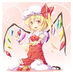 fang flandre_scarlet food fruit hat highres holding holding_fruit ichi_makoto mary_janes ponytail red_eyes shoes short_hair side_ponytail strawberry thigh-highs thighhighs touhou wings wrist_cuffs