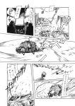 black_hawk_down cap comic crash explosion gunba hat helicopter missile monochrome original parody pixiv_manga_sample ponytail ruins translated uh-60_blackhawk weapon