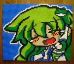 1girl closed_eyes derivative_work detached_sleeves frog green_hair happy_tears highres kochiya_sanae lego open_mouth photo snake solo tears touhou white_snake you_rei_(blowback)