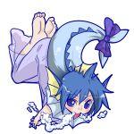 1girl barefoot blue_hair bubble bubble_blowing fins monster_girl personification pokemon ribbon seki_(red_shine) short_hair solo tail tail_ribbon vaporeon violet_eyes