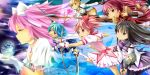 bow_(weapon) dual_persona food goddess_madoka kaname_madoka long_hair mahou_shoujo_madoka_magica miki_sayaka mouth_hold onaka_sukisuki pantyhose polearm sakura_kyouko shield short_hair spear spoilers sword taiyaki thighhighs tomoe_mami ultimate_madoka wagashi weapon