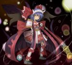 alternate_costume armor blue_hair cape highres red_eyes remilia_scarlet short_hair solo touhou weapon wings zetsukame