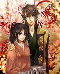 arm_around_shoulders brown_eyes brown_hair cherry_blossoms floral_background flower green_eyes hakuouki_shinsengumi_kitan japanese_clothes mukashi95 okita_souji_(hakuouki) ponytail smile yukimura_chizuru