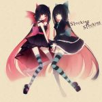 dark_persona dual_persona highres long_hair multicolored_hair no_nose panty_&_stocking_with_garterbelt raicy stocking_(character) stocking_(psg) striped striped_legwear striped_thighhighs symmetry thighhighs two-tone_hair