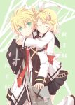 bag bike_shorts blonde_hair blush brother_and_sister closed_eyes eyes_closed green_eyes hair_ornament hair_ribbon hairclip hug hug_from_behind kagamine_len kagamine_rin kinoshita_neko necktie ribbon school_bag school_uniform short_hair siblings skirt smile twins vocaloid