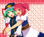 blush green_eyes green_hair hair_bobbles hair_ornament hands_clasped hands_together hat highres hug hug_from_behind lgw7 multiple_girls onozuka_komachi open_mouth red_eyes red_hair redhead shikieiki_yamaxanadu short_hair skirt smile touhou