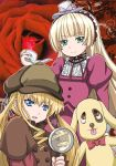 anime_coloring banboro_(technobot) blonde_hair blue_eyes cordelia_gallo crossover dress drill_hair flower frills gosick green_eyes hairband hat kunkun lolita_fashion long_hair multiple_girls official_style pipe red_rose rose rozen_maiden sawashiro_miyuki seiyuu_connection shinku twintails very_long_hair victorica_de_blois