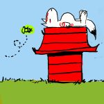 artist_request charles_schulz_(style) doghouse issun no_humans okami ookami_(game) parody peanuts sleeping snoopy style_parody