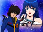 ahoge black_hair brown_hair choujikuu_yousai_macross helmet ichijou_hikaru jumpsuit long_hair lowres lynn_minmay macross macross:_do_you_remember_love? mecha military military_uniform oekaki oldschool pilot_suit sideburns skull_and_crossbones spacesuit star u.n._spacy uniform vf-1