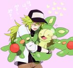 closed_eyes drooling eyes_closed face green_hair hat hirosuke hug jewelry long_hair male n_(pokemon) open_mouth pixiv_manga_sample pokemon pokemon_(game) pokemon_black_and_white pokemon_bw reuniclus translated