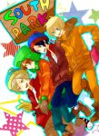 black_hair blonde_hair blue_eyes book brown_hair coat english eric_cartman gloves green_eyes hat kenny_mccormick kyle_broflovski long_hair male multiple_boys nemokiti0 short_hair smile south_park stan_marsh star tagme