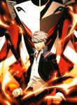 fire grey_eyes grey_hair highres izanagi izanagi_no_okami male narukami_yuu persona persona_4 school_uniform soejima_shigenori