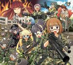 ahoge aiming_at_viewer airsoft al_bhed_eyes assault_rifle bandaid black_hair blonde_hair blue_eyes blue_hair bow braid brown_hair building bullet bun_cover camouflage chibi cover cover_page drum_magazine dual_wielding fire flame forehead foreshortening girls_bad_company goggles grenade_launcher grin gun hair_bow hair_ribbon hat headband left-handed long_hair lunatic_monster m4_carbine machine_gun mecha_to_identify mg42 multiple_girls nazi novel o_o open_mouth ponytail pov_aiming purple_hair red_eyes red_hair redhead ribbon rifle sakazaki_freddy shotgun sleeves_pushed_up smile sun swastika sweat tears twintails type_96 visor wavy_hair weapon weapon4