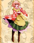 1girl apron bell blush book boots checkered checkered_shirt clothes_writing floral_background hair_bell hair_ornament highres jingle_bell long_sleeves looking_at_viewer motoori_kosuzu open_mouth red_eyes redhead short_hair side_b solo touhou twintails wide_sleeves