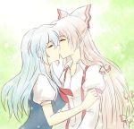 closed_eyes eyes_closed fujiwara_no_mokou kamishirasawa_keine kiss kissing lowres multiple_girls mutual_yuri pandagirlz touhou yuri