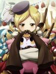 blonde_hair cake charlotte_(madoka_magica) crombaster doughnut drill_hair food fruit hair_ornament hat magical_girl mahou_shoujo_madoka_magica pocky sleeves_past_wrists strawberry tomoe_mami witch's_labyrinth witch's_labyrinth