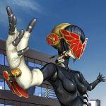 aegis android black_hair blonde_hair bow city giantess kyodairobo mask metis multiple_girls persona persona_3 ribbon skin_tight