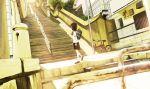 bicycle bloom dutch_angle ito_to_yuki looking_away original railing scenery school_uniform solo stairs stone_lantern sunlight