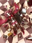 bad_id black_legwear bow candy cape charlotte_(madoka_magica) checkerboard_cookie checkered checkered_floor cookie dj.adonis dj_ace_rock doughnut drill_hair food fork highres ice_cream mahou_shoujo_madoka_magica midriff navel personification pink_eyes pink_hair popsicle shorts suspenders sweets teapot thigh-highs thighhighs twin_drills