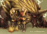 armor blonde_hair blue_eyes claws crossed_arms crossover dragon_ball dragon_ball_z dragonball dragonball_z electricity epic fang gloves highres male monster monster_hunter multiple_boys nishi_yukari rajang rajang_(armor) red_eyes smile son_goku son_gokuu spiked_hair spiky_hair super_saiyan vegeta