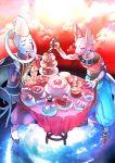 2boys a_k_o bracelet cake dragon_ball dragon_ball_z dragon_ball_z_kami_to_kami food fork hakaishin_bills jewelry male multiple_boys sitting table teapot whis