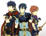 3boys blue_eyes blue_hair cape crossed_arms fire_emblem fire_emblem:_fuuin_no_tsurugi fire_emblem:_monshou_no_nazo fire_emblem:_path_of_radiance fire_emblem:_souen_no_kiseki fire_emblem_fuuin_no_tsurugi gabu_kichi gloves headband ike marth multiple_boys nintendo red_hair redhead roy roy_(fire_emblem) smile super_smash_bros. sword weapon