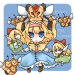 1girl alice_margatroid blonde_hair blue_eyes combee crossover doll lowres pokemon pokemon_(creature) takamura touhou translated vespiquen