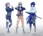 1girl 2boys blonde_hair blue_eyes blue_hair green_eyes haruno_sakura i_(kaiyou) long_hair multiple_boys naruto naruto_shippuuden pink_hair short_hair spiky_hair spoilers team7 uchiha_sasuke uzumaki_naruto