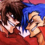 2boys blue_hair brown_hair crossover getter_robo grin kamina male manly multiple_boys nagare_ryoma shin_getter_robo smile super_robot_wars super_robot_wars_z2 tengen_toppa_gurren-lagann tengen_toppa_gurren_lagann wrato
