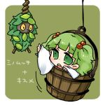 1girl bucket burmy green_eyes green_hair hair_bobbles hair_ornament in_container kisume lowres pokemon pokemon_(creature) takamura touhou translated twintails