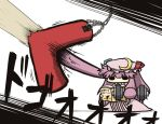book chain chains chibi crescent crescent_moon dumbbell exercise kurokoori long_hair moon patchouli_knowledge prehensile_hair punching_bag purple_hair reading solo touhou translated translation_request