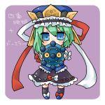 1girl bow bronzor green_hair hat lowres pokemon pokemon_(creature) ribbon shiki_eiki takamura touhou translated