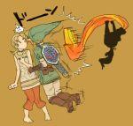 barefoot blonde_hair feet gloves hat ilia imp link midna nintendo penta5 pointy_ears shield sword the_legend_of_zelda twilight_princess weapon