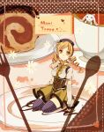 cake cup drill_hair eat fingerless_gloves food fork gloves hair_ornament hat heart kneeling kyubey magical_girl mahou_shoujo_madoka_magica spoon teacup thigh-highs thighhighs tomoe_mami tomoyami yellow_eyes