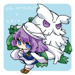 1girl abomasnow blue_eyes blush boots hat letty_whiterock lowres pokemon pokemon_(creature) purple_eyes purple_hair scarf simple_background smile takamura touhou translated violet_eyes