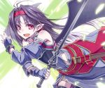 antenna_hair bare_shoulders black_hair fingerless_gloves gloves hairband long_hair open_mouth pointy_ears red_eyes sheath solo sword sword_art_online weapon wings yuu_(amadoki) yuuki_(sao)
