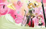 absurdres aiming beret biscuit blonde_hair boots brown_legwear cake candle candy chocolate chocolate_bar cookie corset cover cream crease detached_sleeves doughnut drill_hair dual_wielding dvd_cover food fruit gun hair_ornament hair_ribbon hairpin hat highres kaname_madoka kishida_takahiro knee_boots lollipop long_hair magical_girl magical_musket mahou_shoujo_madoka_magica multiple_girls musket official_art pastry pink_hair pleated_skirt popsicle puffy_sleeves reference_work ribbon rifle scan school_uniform short_twintails skirt strawberry sweets thigh-highs thighhighs tomoe_mami twin_drills twintails vertical-striped_legwear vertical_stripes weapon whipped_cream wink yellow_eyes zettai_ryouiki