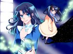 black_hair blue_eyes blue_hair bow hair_bow kara_no_kyoukai kokutou_azaka long_hair school_uniform twintails winter_clothes young yuzuki_kisa