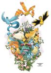 articuno bird blastoise bulbasaur charizard charmander charmeleon creature dinosaur ditb dragon dragonite eevee english everyone flareon flower fox happy_birthday highres horn ivysaur jolteon lapras mew mewtwo moltres nintendo no_humans pikachu pokemon pokemon_(game) pokemon_rgby sleeping snorlax squirtle tail turtle vaporeon venusaur vines wartortle wings zapdos