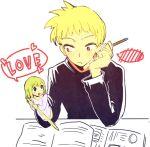 blush green_hair heart kasugano_midori midori_no_hibi minigirl pencil rawan red_eyes sawamura_seiji spoken_blush spoken_heart